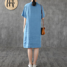 Load image into Gallery viewer, Elegant blue linen Robes stand collar patchwork Knee Dress