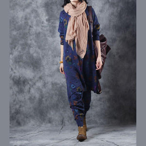 Elegant blue print blouse trousers oversize O neck two pieces vintage side open clothing tops