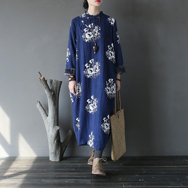 Elegant blue print cotton dress 18th Century Shape Kaftan stand collar thick Dresses