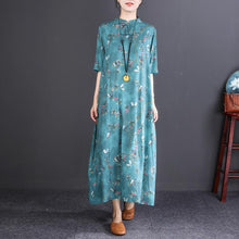 Load image into Gallery viewer, Elegant blue print long cotton linen dresses Loose fitting O neck top quality half sleeve baggy dresses