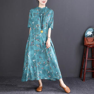 Elegant blue print long cotton linen dresses Loose fitting O neck top quality half sleeve baggy dresses