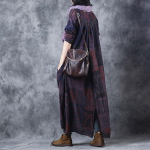 Elegant blue purple Letter woolen Coats oversize o neck long coat top quality Button pockets wool jackets