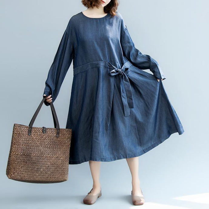 Elegant blue striped 2018 fall dress plus size O neck pockets linen clothing dress Fine long sleeve tie waist autumn dress