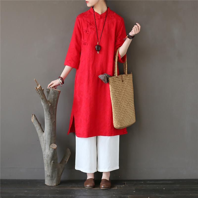 Elegant bracelet sleeved Cotton stand collar clothes Women Tutorials red Dress