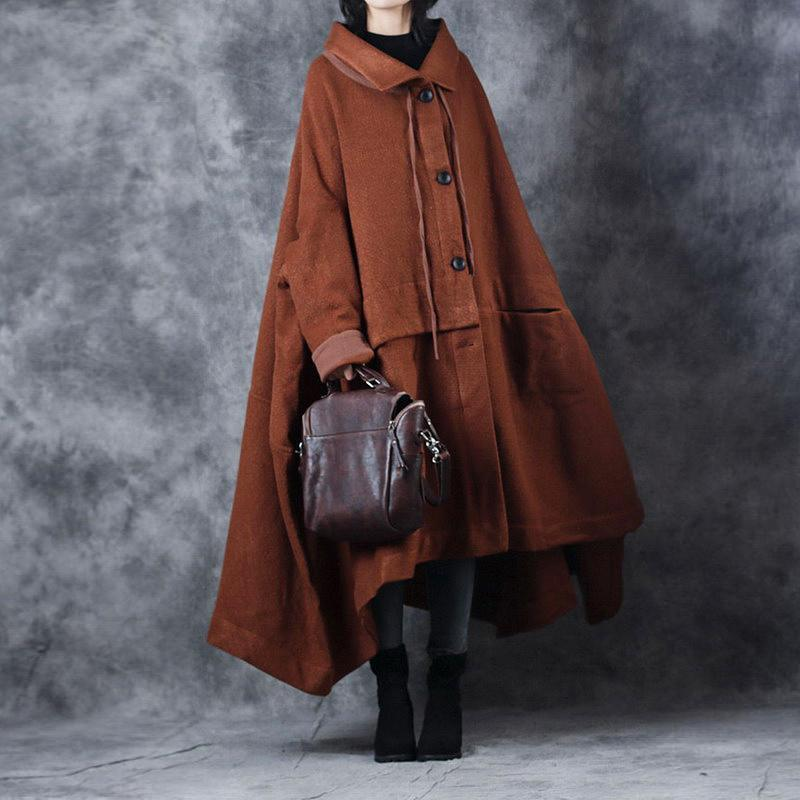 Elegant brown woolen Coats oversize Turn-down Collar long coat top quality asymmetric trench coat