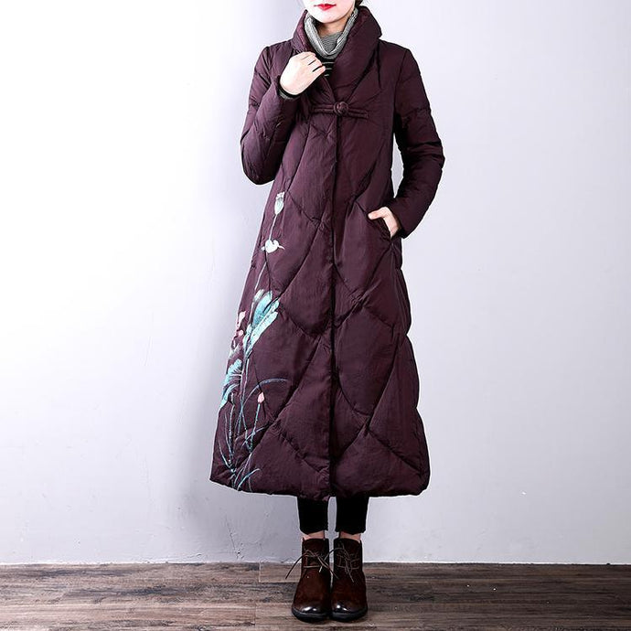 Elegant burgundy down coats woman oversize stand collarYZ-2018111429