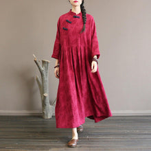 Load image into Gallery viewer, Elegant burgundy wool coat for woman plus size clothing long stand collar patchwork outwear