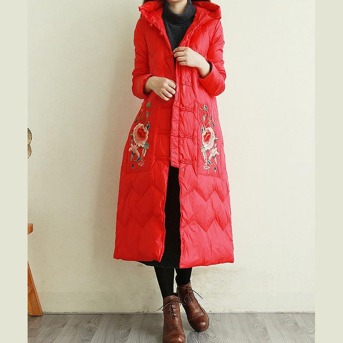 Elegant casual down jacket coats red embroidery Chinese Button hooded duck down coat