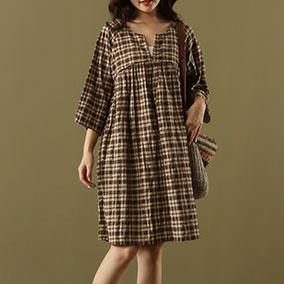 Elegant chocolate Plaid cotton linen clothes Women v neck pockets short summer Dress
