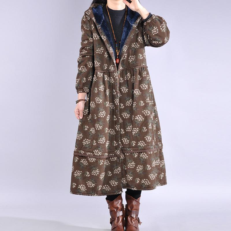 Elegant chocolate print coat trendy plus size warm hooded Button winter coats
