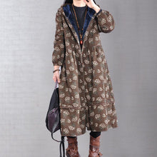 Load image into Gallery viewer, Elegant chocolate print coat trendy plus size warm hooded Button winter coats