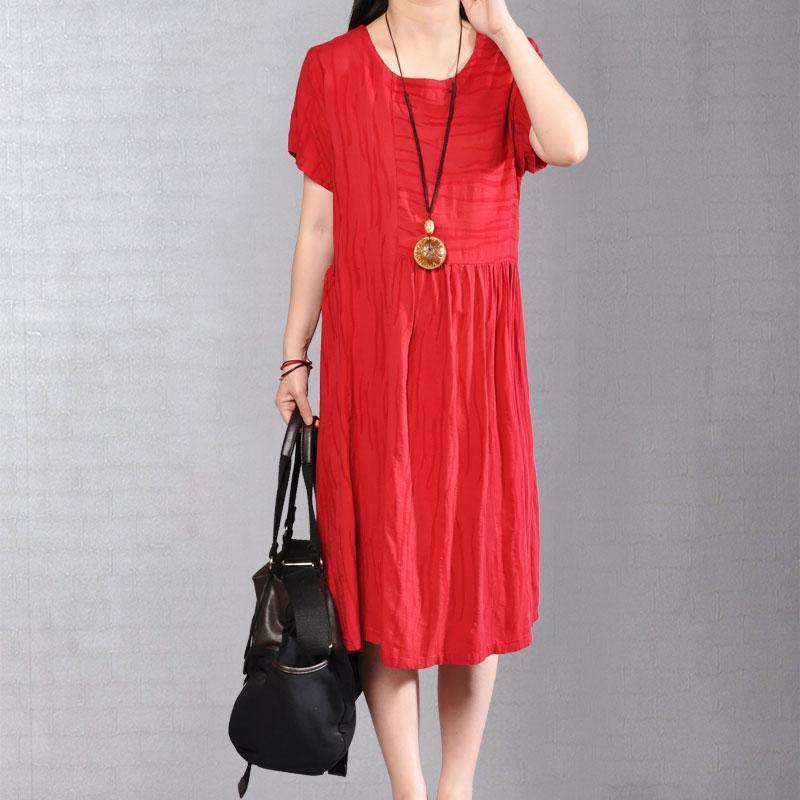 Elegant cotton caftans oversize Women Summer Casual Short Sleeve Red Dress