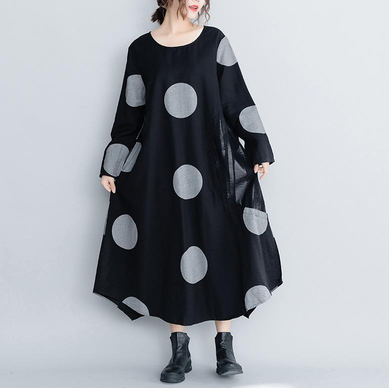 Elegant cotton clothes For Women Fashion dotted asymmetric Ideas black Plus Size Clothing Dress