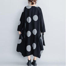 Load image into Gallery viewer, Elegant cotton clothes For Women Fashion dotted asymmetric Ideas black Plus Size Clothing Dress