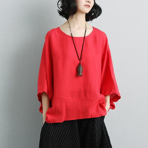 Elegant cotton linen blouse Loose fitting Women Long Sleeve Red Casual Summer Blouse