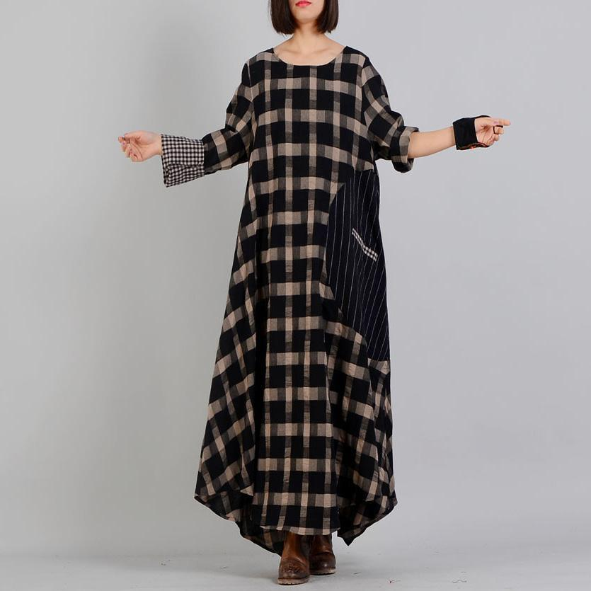 Elegant cotton quilting clothes 2019 patchwork Work black Plaid Plus Size o neck Clothing Dress