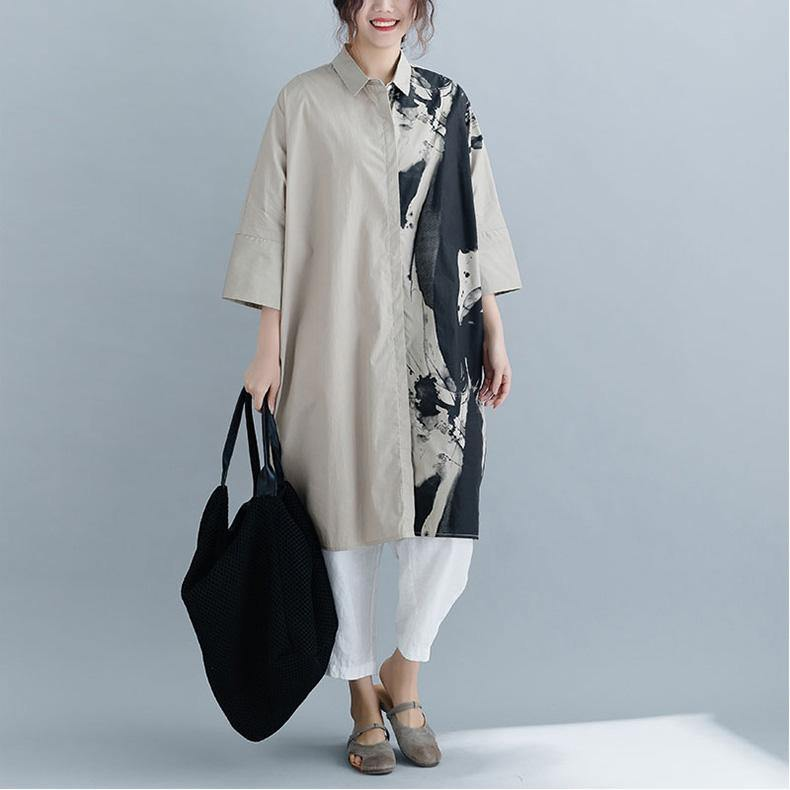 Elegant cotton shirts Women Three Quarter sleeve print Outfits gray silhouette shirts