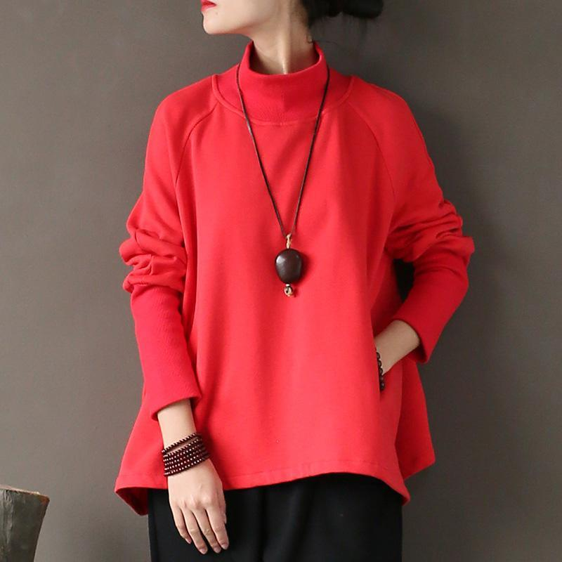 Elegant cotton shirts women Vintage high neck Ideas red Art tops