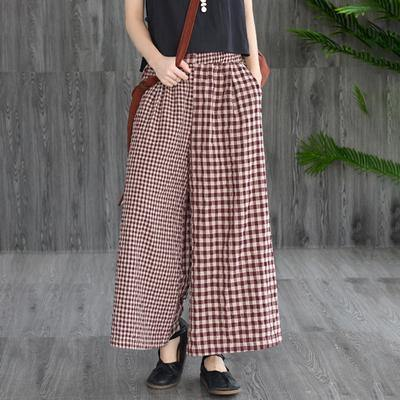 Elegant cotton silhouette  Vintage Cotton Linen Spliced Plaid Wide Leg Pants
