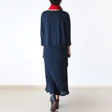 Load image into Gallery viewer, Elegant dark blue linen dresses Omychic Life linen robes o neck asymmetric Dress