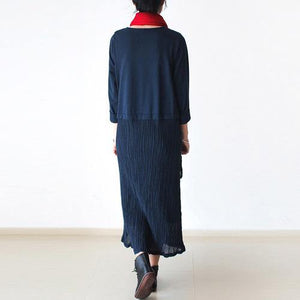Elegant dark blue linen dresses Omychic Life linen robes o neck asymmetric Dress