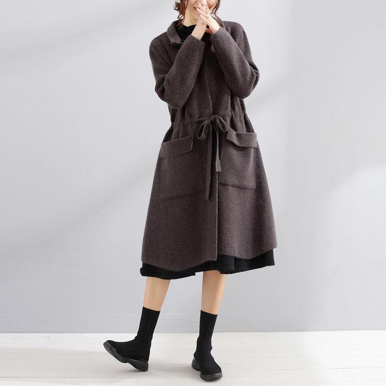 Elegant dark gray Wool plus size maxi coat fall women coats Square Collar tie waist