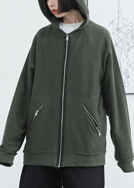 Elegant dark green cotton crane tops hooded zippered daily autumn shirt