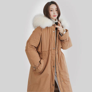 Elegant dark khaki goose Down coat plus size hooded winter jacket fur collar overcoat