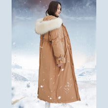 Laden Sie das Bild in den Galerie-Viewer, Elegant dark khaki goose Down coat plus size hooded winter jacket fur collar overcoat