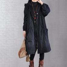 Load image into Gallery viewer, Elegant denim black casual outfit plussize Jackets & Coats two pieces hooded coats