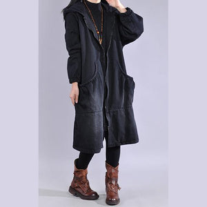 Elegant denim black casual outfit plussize Jackets & Coats two pieces hooded coats