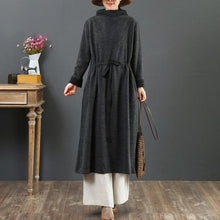 Load image into Gallery viewer, Elegant drawstring cotton winter clothes For Women Sewing gray Vestidos De Lino Dresses