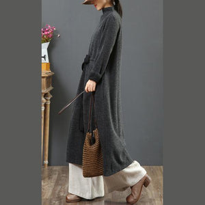Elegant drawstring cotton winter clothes For Women Sewing gray Vestidos De Lino Dresses