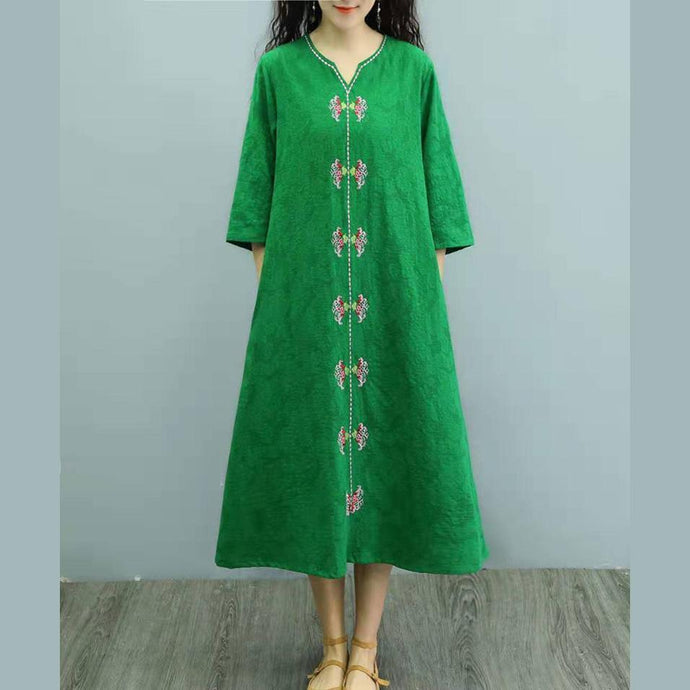 Elegant embroidery linen clothes For Women Wardrobes green Dresses summer