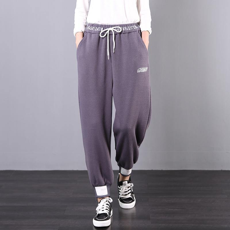 Elegant fall fashion gray embroidery Cotton elastic waist wild pants