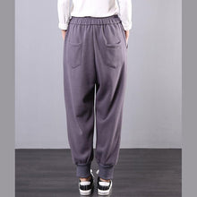 Load image into Gallery viewer, Elegant fall fashion gray embroidery Cotton elastic waist wild pants