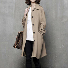Load image into Gallery viewer, Elegant fall top quality tie waist trench coat khaki Vestidos De Lino coat