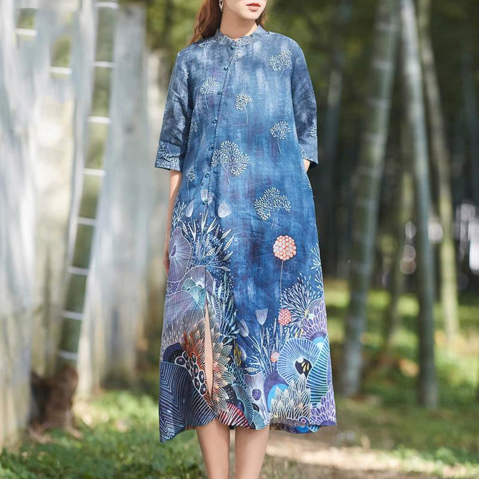Elegant front open linen clothes For Women Shirts navy floral Dresses summer