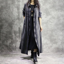 Load image into Gallery viewer, Elegant gray Plaid overcoat plus size clothing maxi coat Turn-down Collar pockets women coats