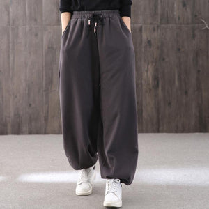 Elegant gray lantern pants vintage drawstring carpenter pant thick Work  pants