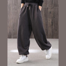 Load image into Gallery viewer, Elegant gray lantern pants vintage drawstring carpenter pant thick Work  pants