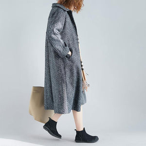 Elegant gray wool coat plus size long pockets coat