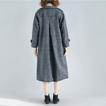 Load image into Gallery viewer, Elegant gray wool coat plus size long pockets coat
