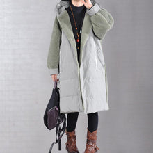 Load image into Gallery viewer, Elegant green coats Loose fitting down jacket winter hooded winter coats