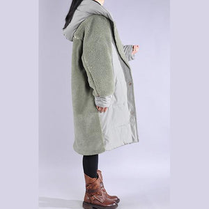 Elegant green coats Loose fitting down jacket winter hooded winter coats