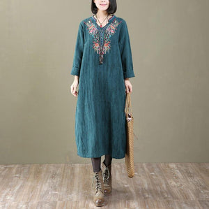 Elegant green cotton maxi dress casual embroidery cotton clothing dresses New patchwork o neck cotton caftans