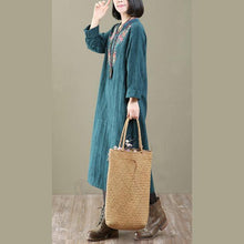 Load image into Gallery viewer, Elegant green cotton maxi dress casual embroidery cotton clothing dresses New patchwork o neck cotton caftans