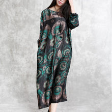 Load image into Gallery viewer, Elegant green prints chiffon dress plus size clothing long sleeve silk clothing dresses New o neck caftans