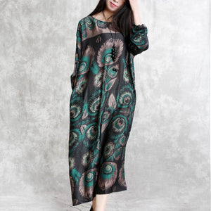 Elegant green prints chiffon dress plus size clothing long sleeve silk clothing dresses New o neck caftans