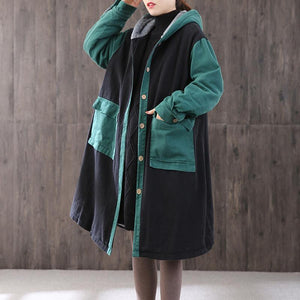 Elegant green womens parkas oversized hooded patchwork winter coats